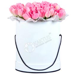 Композиция с розовыми тюльпанами №18