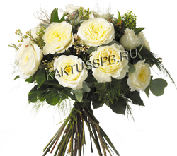 Букет белых пионовидных роз