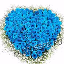 Сердце из синих роз