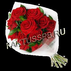 Букет из красных роз и рускуса