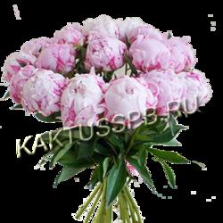 Букет из 17 розовых пионов. Доставка цветов