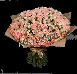 Букет розовых кустовых роз №54