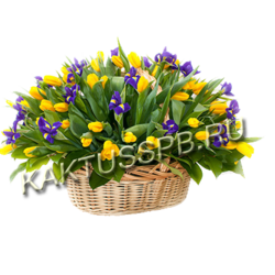 Корзина желтых тюльпанов и ирисов