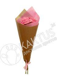 3 розовые розы.
