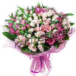 Букет с альстромерией и розами №99
