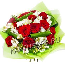 """Букет  альстромерий и роз """"Сатори"""""""
