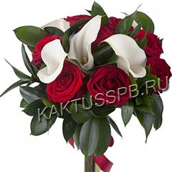 Букет белых калл и красных роз