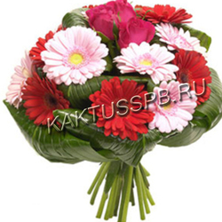 Букет из гербер и красных роз