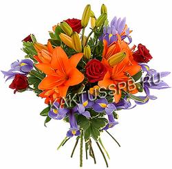 """Букет из лилии, ирисов и розы """"Лиля"""""""