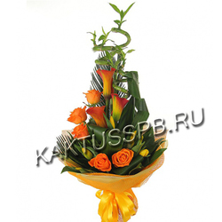 Букет из калл, роз и тюльпанов