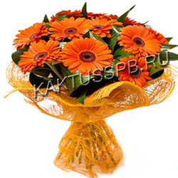 Букет оранжевых гербер и аспидистры