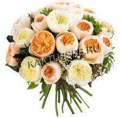 Букет разноцветных пионовидных роз