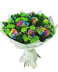 Букет радужных роз и хризантем