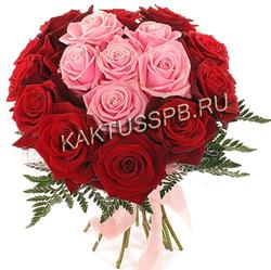 Букет розовых и красных роз