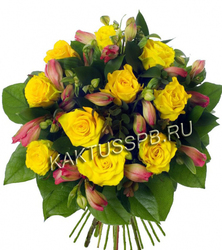 Букет роз и альстромерии