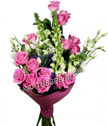 Букет роз и лизиантусов.