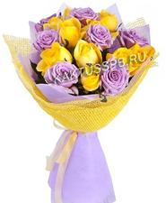 Букет сиреневых и желтых роз