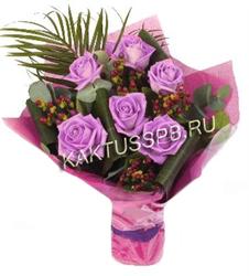 """Букет сиреневых роз """"Баклажан"""""""