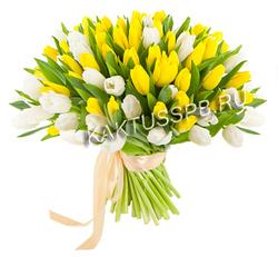 Букет желто-белых тюльпанов