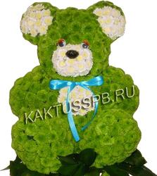 Мишка из зеленой хризантемы