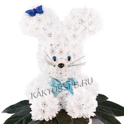 Заяц из белых хризантем