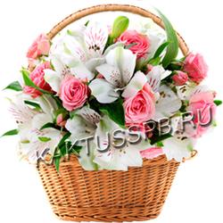 Композиция из альстромерий и роз