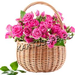 "Корзина кустовых розовых роз ""Малинка"""