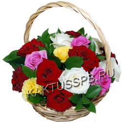 Корзина разноцветных роз