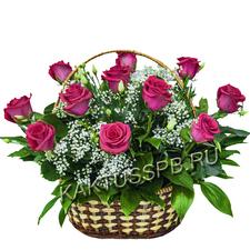 Корзина сиреневых роз