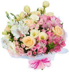Букет кустовых роз и альстромерий.