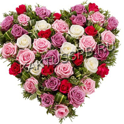 """Сердце из роз """"Акварель"""""""