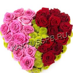 Сердце из розовых и красных роз
