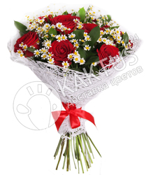 Красные розы и ромашки в сетке
