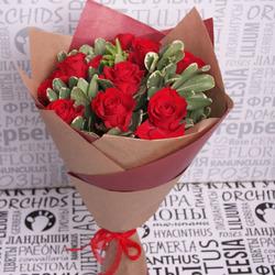 """Букет с красными розами """"Чистый"""""""