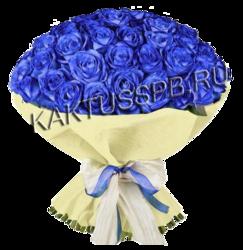 Букет из 55 синей розы  в упаковке
