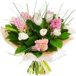 Розовые гиацинты с белыми тюльпанами.