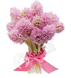 Небольшой букетик розовых гиацинтов.