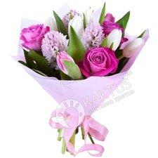 Розы, тюльпаны и гиацинты.