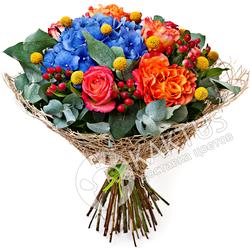 Букет гортензии и розы с доставкой по СПб.