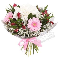 Белая гортензия и розовые герберы с доставкой.