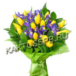 Букет с ирисами и тюльпанами