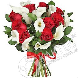 Красные розы с белыми каллами.