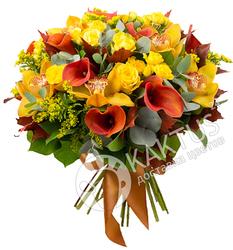 Красные каллы и желтые розы.