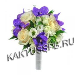 Букет невесты с орхидеей и розами в лиловом стиле №5