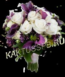Букет невесты с каллами и розами в лиловом стиле №2