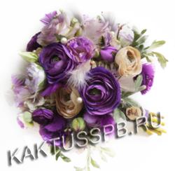 Букет невесты с ранункулюсами в лиловом стиле №1