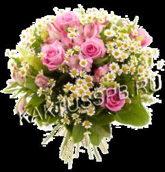 Букет из ромашек и розовых роз