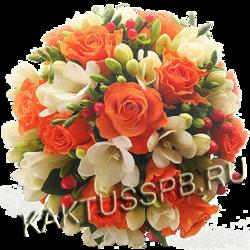 Букет невесты в стиле оранжевой свадьбы №4