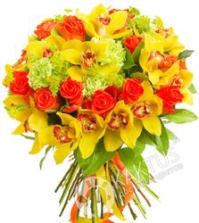 Желтые орхидеи красные розы.