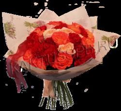 Букет из 31пионовидной розы микс